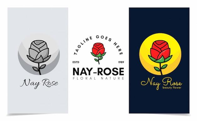 スパ、ブティック、サロン、植物ロゴのローズロゴ。