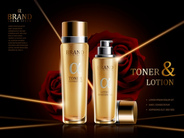 Rose lotion and toner ads illustration