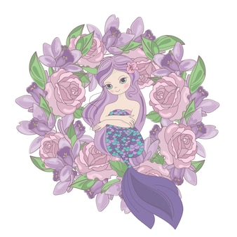 Rose mermaid floral flower wreath