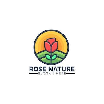 バッジ、エンブレム、アイコンのモダンでクリーンなコンセプトスタイルのイラストとバラの自然ロゴデザイン