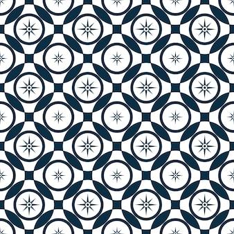 風のバラ。交差する円と抽象的なシームレスパターン。
