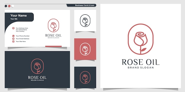 Rose oil logo template with creative line art style and business card design premium vector