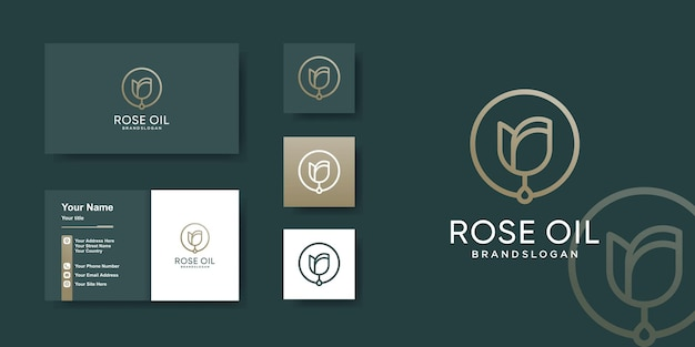 Rose oil logo template with unique concept premium vector