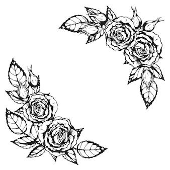 Тату роза орнамент от руки рисунок