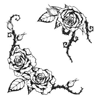 Тату роза орнамент от руки рисунок Premium векторы