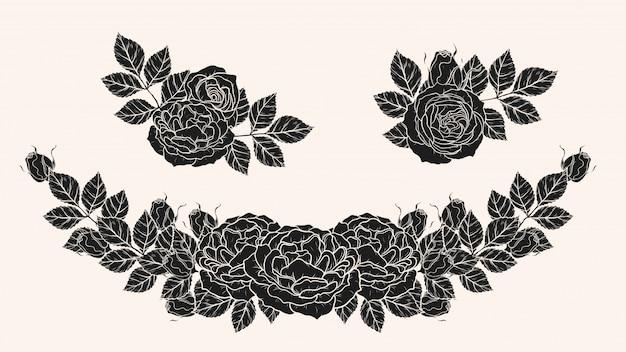 Роза орнамент вектор от руки рисунок