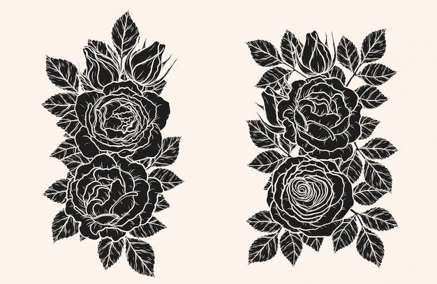 Rose ornament vector by hand drawing