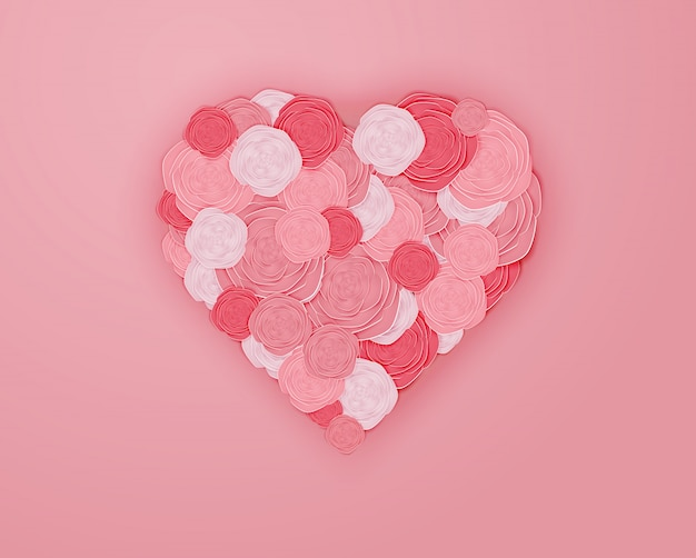 Rose paper art in heart shape vector illustration