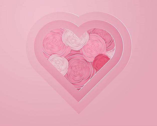 Роза бумаги искусства в форме сердца векторная иллюстрация