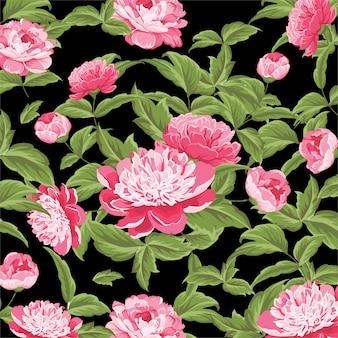 バラ模様の水彩画