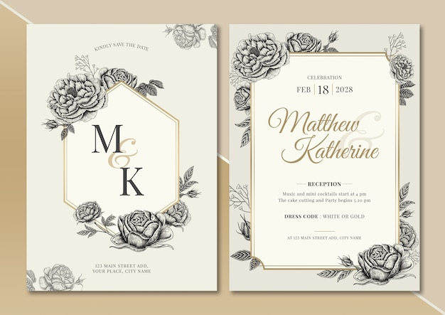 Rose and peony vintage florals illustration wedding invitation card with text layout