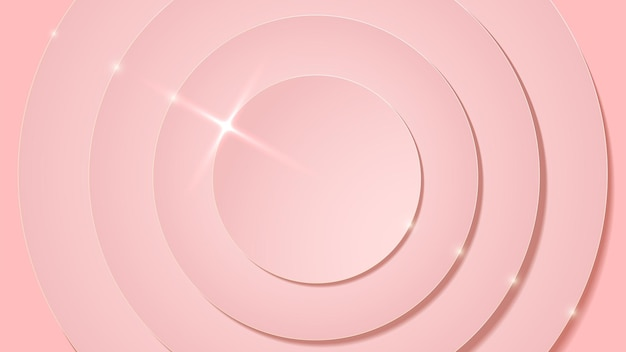 Rose pink circle layers and sparkle flare luxury abstract background