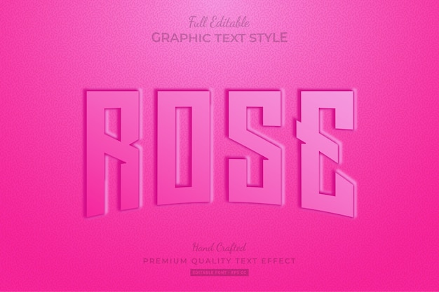 Rose pink embossed editable text effect font style