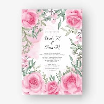 結婚式の招待状のローズピンクの花フレームの背景