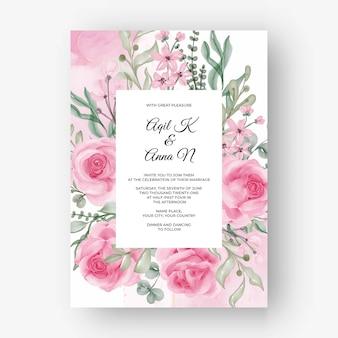 Роза розовая цветочная рамка фон для свадебного приглашения