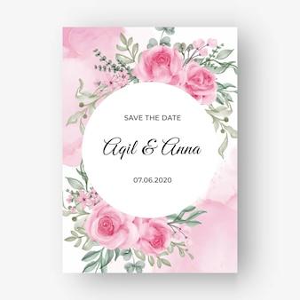 Rose pink flower frame background for wedding invitation