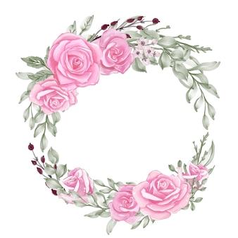 緑の葉の水彩画の花輪とローズピンクのパステル