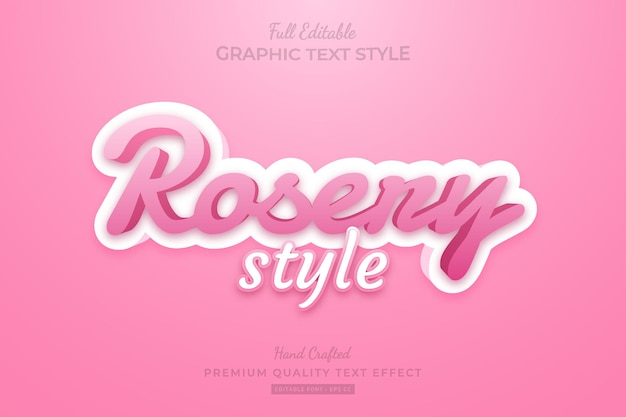 Rose pink style editable premium text effect font style