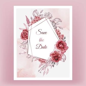 Rose red burgundy floral frame geometry watercolor illustration