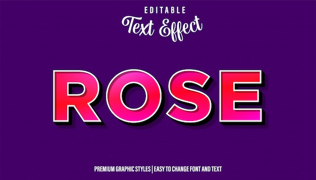 Rose, red style редактируемый текстовый эффект