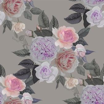 白い背景の上のバラのシームレスなパターン
