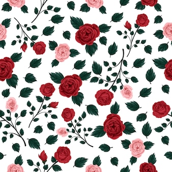 Rose seamless pattern, red and pink flower with white background