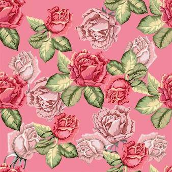 Rose seamless pattern in retro style