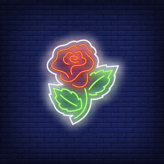 Rose sew-on patch neon sign