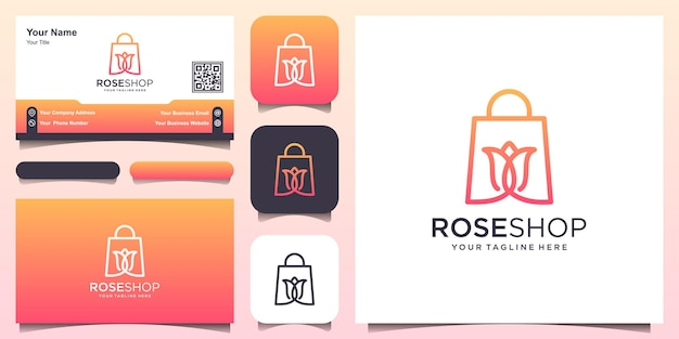 Rose shop 로고 디자인 템플릿, 꽃과 결합된 가방.