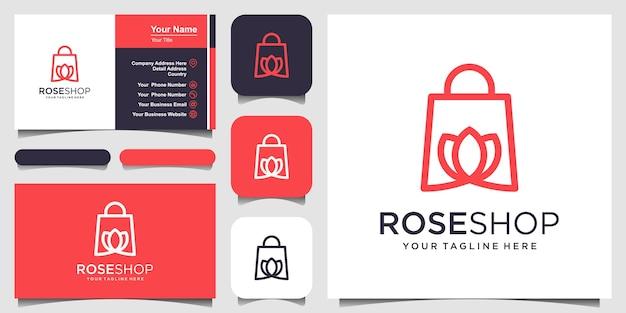 ローズショップのロゴデザインテンプレートバッグと花の組み合わせ