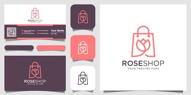 ローズショップのロゴデザインテンプレート、花と組み合わせたバッグ。