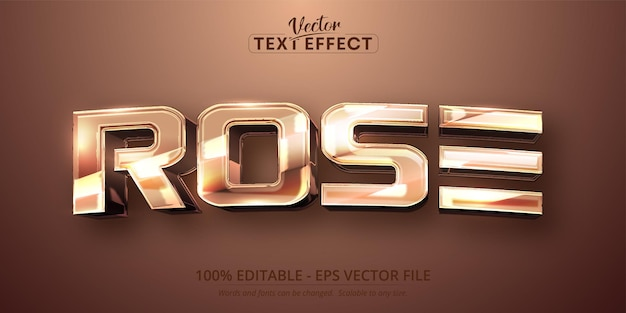 Rose text, shiny rose gold color style editable text effect