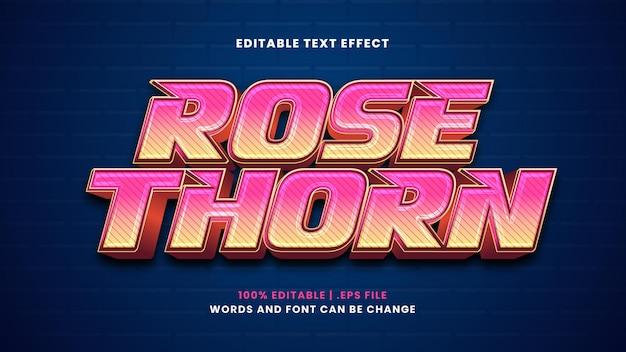 현대적인 3d 스타일의 장미 가시 편집 가능한 텍스트 효과