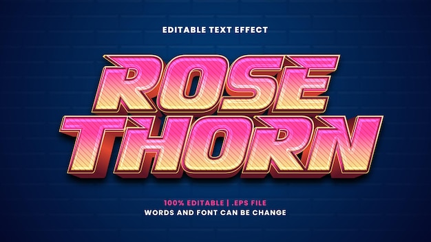 Rose thorn editable text effect in modern 3d style
