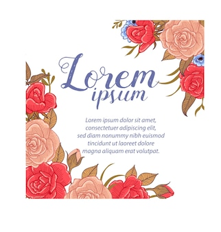 Rose vintage flower background text