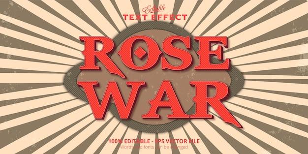 Rose war 텍스트, 빈티지 스타일, 편집 가능한 텍스트 효과