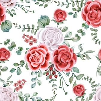 バラの水彩画の背景フラワーアレンジメント