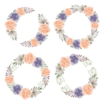 Rose watercolor floral wreath set for decoration element