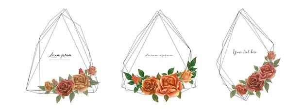 Роза акварель кадр набор.
