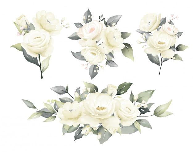バラの水彩画の白とクリーミーな花の花束