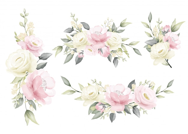 Rose watercolor painting white creamy and pink flower bouquet