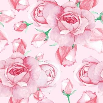 Rose watercolor pattern seamless