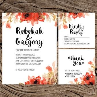 Rose watercolor wedding invitations set