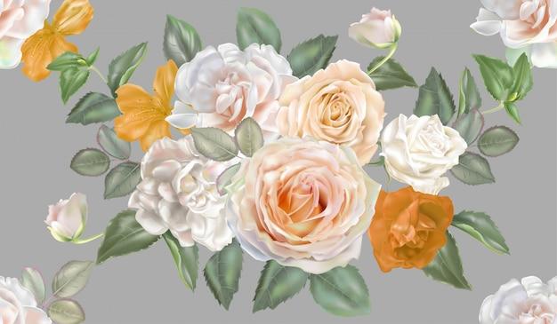 Rose white and yellow seamless pattern