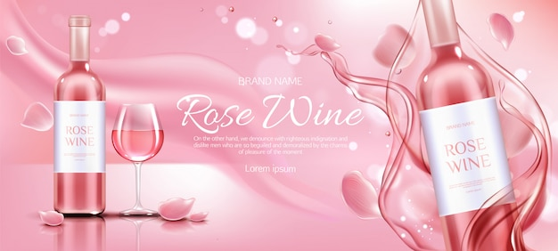 로즈 와인 병 및 유리 광고 프로 모션 배너