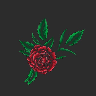 잎 손으로 그린 일러스트와 함께 장미