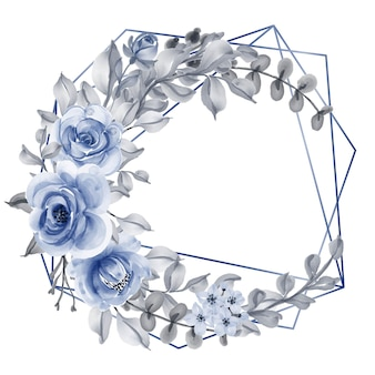 Rose with leaf navy blue watercolor wreath geometric