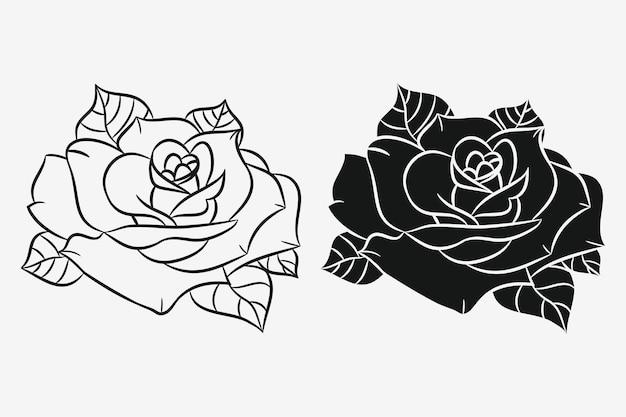 葉がセットされたバラ。黒のシルエットと花の手描きの輪郭。ベクトルイラスト。