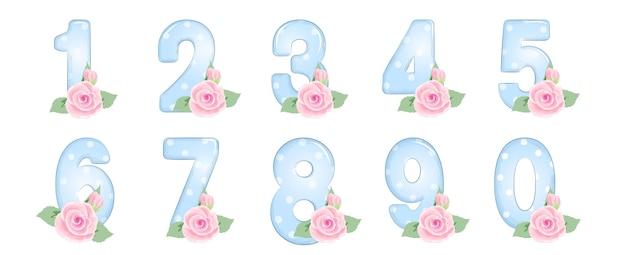 숫자 세트 일러스트와 함께 로즈 숫자와 수채화 핑크 로즈