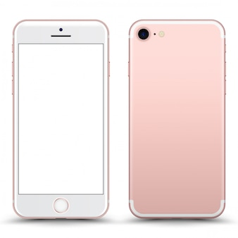 Rosegold phone  with blank screen isolated.
